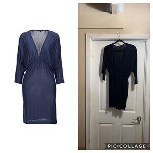 Tbags black plunging v-neckline dress